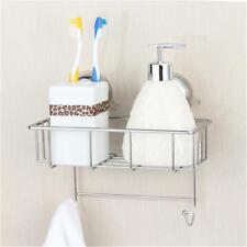 Stainless Steel Kitchen Bathroom Shower Shelf Storage Suction Basket Caddy Rack