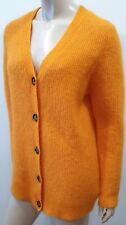 GANNI Orange Mohair Wool Blend Ribbed V Neck Button Long Sleeve Cardigan S