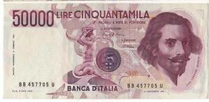 BANCONOTA DA 50000 LIRE BERNINI 15.03.1984 Ciampi-Stevani BB 457705 U