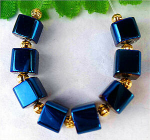 7mm 8Pcs Blue Titanium Crystal Cube Height Hole Pendant Bead BT90693