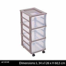3 TIROIRS BOX CASIER RANGEMENT CAISSE PLASTIQUE SUR ROUE  ROULETTE COLONNE 496