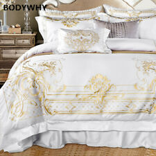 2020 top Luxury bedding white satin set large extra large 4/7 piece quilt cover