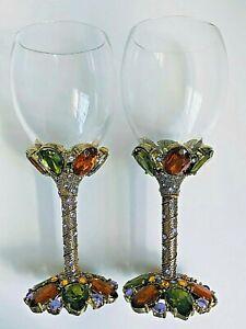 Vintage 2 SAINTS Swarovski Crystal Jeweled Wine Glasses Goblets GOLD ~ 2 Glasses