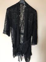 Adore Me Seductive Lace Robe BE-60196-BLACK-L New W/Tag Size L Free S/H