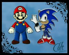 Sonic the Hedgehog and Mario metal & enamel pins / pin badges set of 2