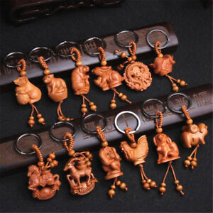 3D Cute Peach Wood Carving Twelve Chinese Zodiac Animal Statue Key Chain Pendant