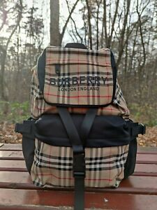 NEW Authentic Burberry Logo Print Vintage Check Backpack, Archive Beige