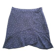 Side Party Korea Navy Blue Notebook Dotted Ruffled Blogger Mini Skirt M 10 BNWT
