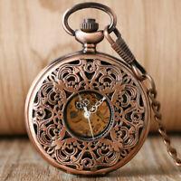 Antique Flower Hand Wind Mechanical Pocket Watch for Men Women  FOB 30CM Chain