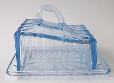 alte Butterdose Butterglocke Pressglas eisblau Art Deco Frankreich