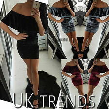 Womens Bodycon Crushed Velvet Off Shoulder Dress Ladies Party Mini Size 6-14 UK
