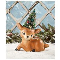 """11"""" Bethany Lowe Reindeer Bottlebrush Tree Retro Vintage Style Christmas Decor"""