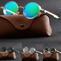 Vintage Polarized Steampunk Sunglasses Fashion Round Mirrored Retro Eyewear U87