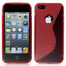Apple iPhone 5 5S TPU Silikon Case Schutz Ring Hülle Etui S-Line Transparent Rot