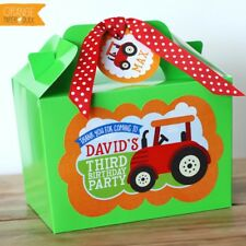 Personalised Children's Tractor Farm Barnyard Animals Birthday Party Bag Box