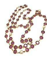 """💕 CHANEL 1981 Made in France Amethyst Crystal GRIPOIX & PEARL Necklace 56"""" 💕"""