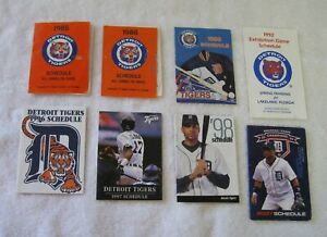 Lot of 8 Detroit Tigers Baseball Schedules from the 1980s, 1990s and 2007