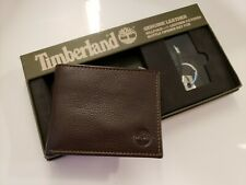 Timberland Men's Leather Wallet Billfold & Leather Bottle Opener Key Fob Brown