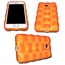 Silikon TPU Cover Bubble Orange Samsung i9100 Galaxy S2 + Displayschutzfolie