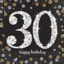 Doré Célébration 30ème Serviettes Repas 33cm - Paquet de 16