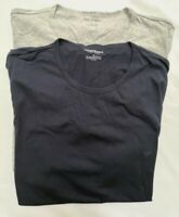 Emporio Armani Mens 2 Pack Pure Cotton Crew Neck T-Shirts Gray/Navy Size XL