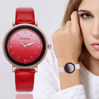 Women's Fashion Leather Band Dial Casual Analog Quartz Round Wrist Watch Watches