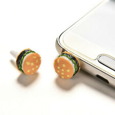 2x Cute Simulated Hamburger Phone Anti Dust Plug For 3.5mm Earphone Jack Plug