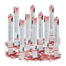 10 x Party Popper rote Herzen, Konfettishooter für Hochzeiten, Konfetti-Kanone