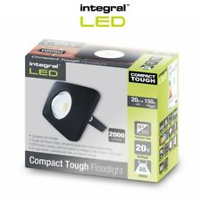 Integral LED Floodlight Compact Tough IP65 20w Black Cool White Outdoor Light