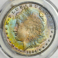 1884-O PCGS MS63 (SECURE) MORGAN SILVER DOLLAR NICE COLORFUL RAINBOW TONING (DR)