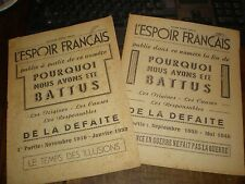 ETAT FRANCAIS/L'ESPOIR FRANCAIS N°SPECIAL/POURQUOI NOUS AVONS ETE BATTUS 2 vol