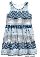 NEW GIRLS H&M SUMMER DRESS AGE 4-6, Blue & white floral Geometric, 100% cotton