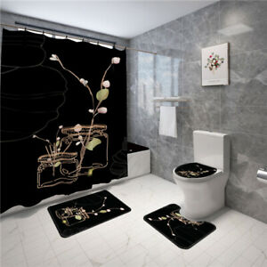 Black Background Vase Bathroom Shower Curtain Non-slip Toilet Lid Bath Mat Rug