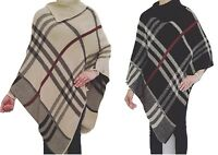 Womens Ladies Poncho Tartan Check Knitted Cape Warm Winter Shawl Jumper Cardigan