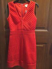 WOMEN'S J.CREW STRIPED EYELET RED BRILLIANT FLAME C5535 V-NECK DRESS NWT SIZE 00