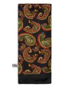 Men's Luxurious Fine Wool Backed Black Silk Paisley Dress Scarf - The Portland