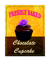 Freshly baked chocolate cupcake kitchen home retro metal wall plaque sign