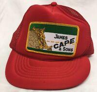 Worn VINTAGE 80s James Cape & Sons Trucker Roadwork Cap Hat Snapback Patch