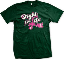 Fight For Life Breast Cancer Ribbon Pink Motivational Mens T-shirt