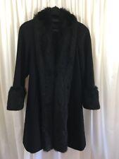 HARVE' BENARD Winter Wool Dress Coat With Faux Fur Trim Black Estimated Size 12