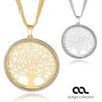 Damen Halskette großer Lebensbaum Anhänger Tree of Life Zirkonias vergoldet