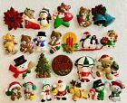 25 Vintage Plastic CHRISTMAS Pin LOT - Gibson Russ - Santa Claus Tree Snowmen +