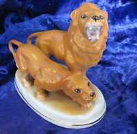 19C. ANTIQUE PORCELAIN FIGURINE –LION & LIONESS