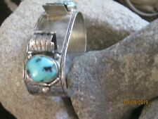 Vtg Watchband Cuff Bracelet Ed Kee Navajo Sterling Silver & Turquoise Signed NWT