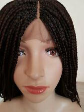 Box Braided Wig Light Density middle part lace Closure in #33 dark brown