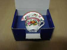 Royal Worcester Pink Scale Miniature Cup & Saucer Boxed & Certificate .