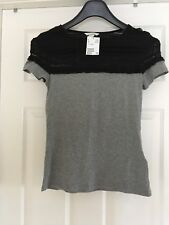 H & M Grey Cotton Top size Small New With Tags RRP £7.99