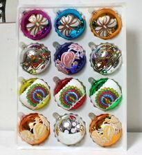 12 grosses boules de Noël vintage multicolores