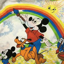 Vintage Disney 2 Curtain Panels Rainbow Quilting Fabric Material Cutter Homemade