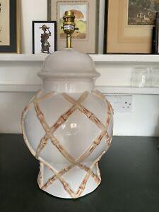 Italian ceramic porcelain hand painted faux bamboo ginger jar lamp